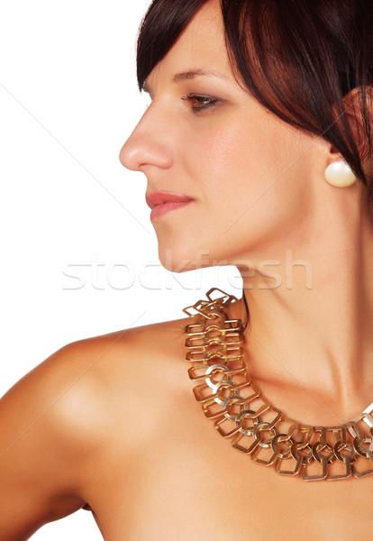 Mujer hermosa hermosa caucásico mujer labios rojos Foto stock © Forgiss