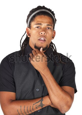 Knap afrikaanse zakenman zwart pak witte niet Stockfoto © Forgiss