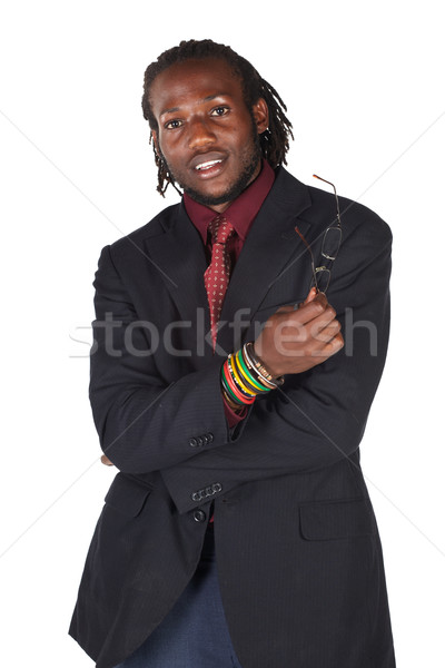Knap afrikaanse zakenman bril zwart pak witte Stockfoto © Forgiss