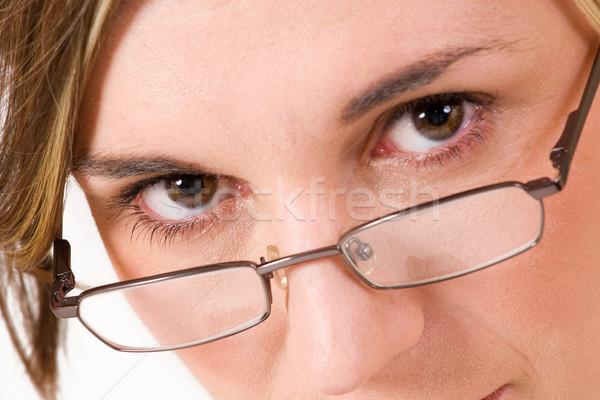 Szczęście business woman okulary do czytania moda pracy ciemne Zdjęcia stock © Forgiss