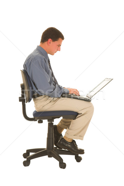 Empresario de trabajo portátil negocios ordenador mano Foto stock © Forgiss