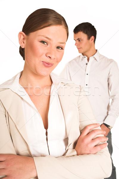 üzletemberek kettő üzleti partnerek egy nő egy férfi Stock fotó © Forgiss