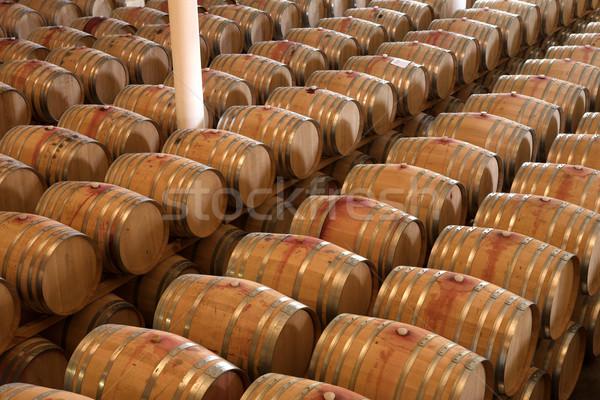 Oak barrels maturing red wine and brandy Stock photo © Forgiss
