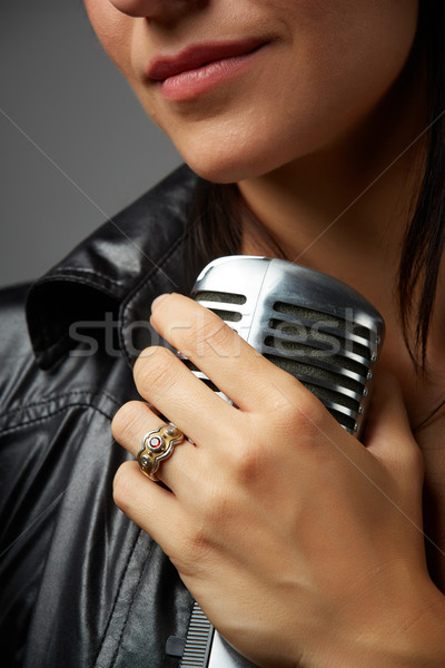 Femenino cantante caucásico labios rojos Foto stock © Forgiss