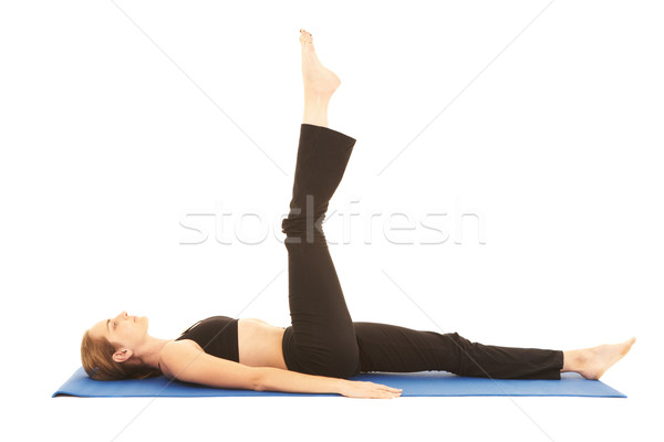 Photo stock: Pilates · exercice · s'adapter · jeunes · brunette · instructeur
