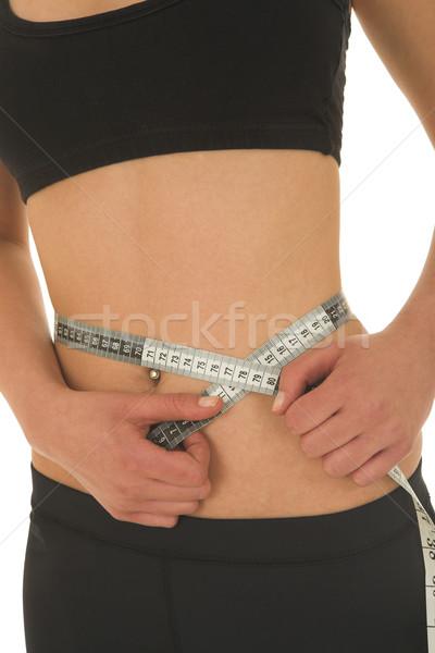 Mujer cinta métrica nina salud gimnasio tren Foto stock © Forgiss