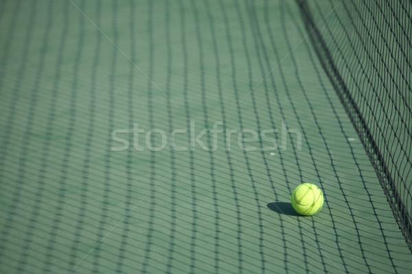 Tennisbal rechter Geel groene tennisbaan Stockfoto © Forgiss