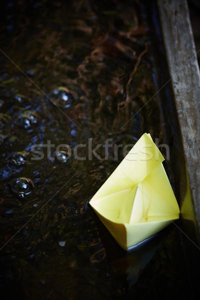 Papier origami boot weinig Geel klein Stockfoto © forgiss
