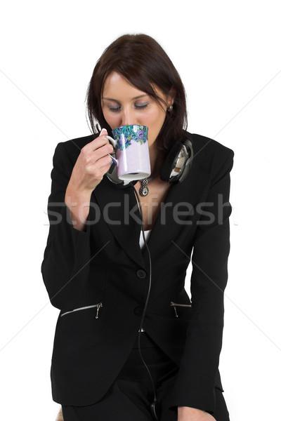 Business woman formalny czarny garnitur pitnej kawy Zdjęcia stock © Forgiss