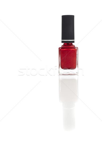 Rood nagel vernis klein fles witte Stockfoto © forgiss