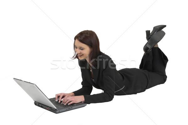 22 business woman formalny czarny garnitur pracy laptop Zdjęcia stock © Forgiss