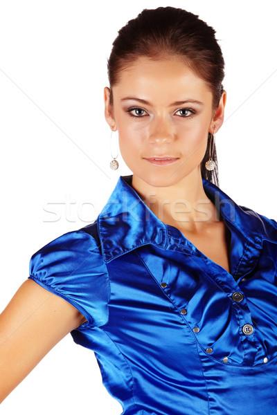 Kaukasisch zakenvrouw donkere brunette haren Stockfoto © Forgiss