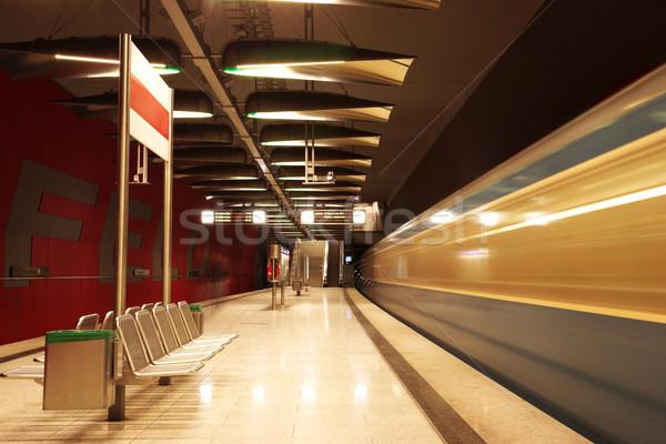 Münih hareketli tren yeraltı tren istasyonu imzalamak Stok fotoğraf © Forgiss