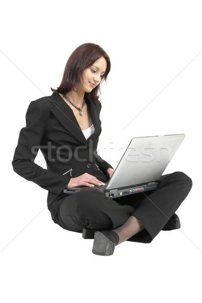 20 business woman formalny czarny garnitur pracy laptop Zdjęcia stock © Forgiss