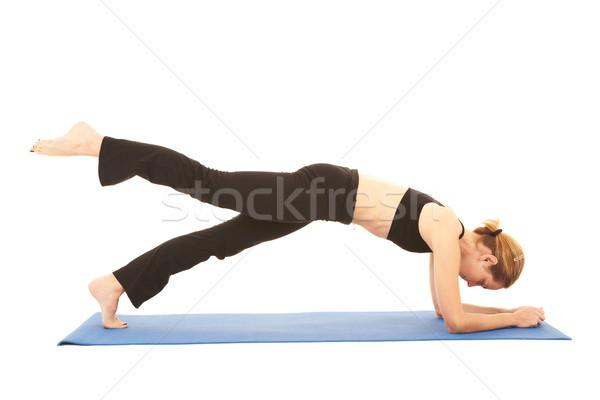 Stockfoto: Pilates · oefening · geschikt · jonge · brunette · instructeur
