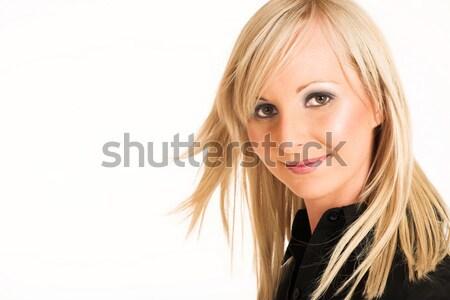 Stockfoto: Zakenvrouw · blond · zwarte · shirt · exemplaar · ruimte · mode