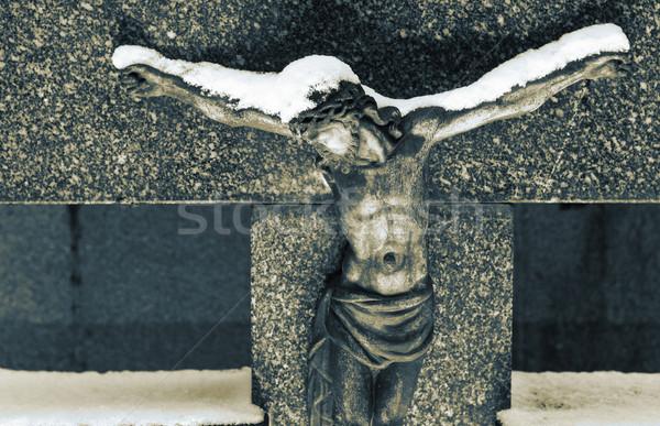Mezar taşı heykel Mesih kapalı kar sepya Stok fotoğraf © Forgiss