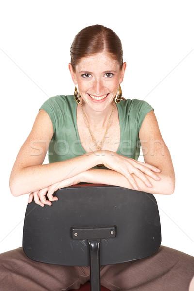 Lang kaukasisch zakenvrouw glimlachend bruin broek Stockfoto © Forgiss