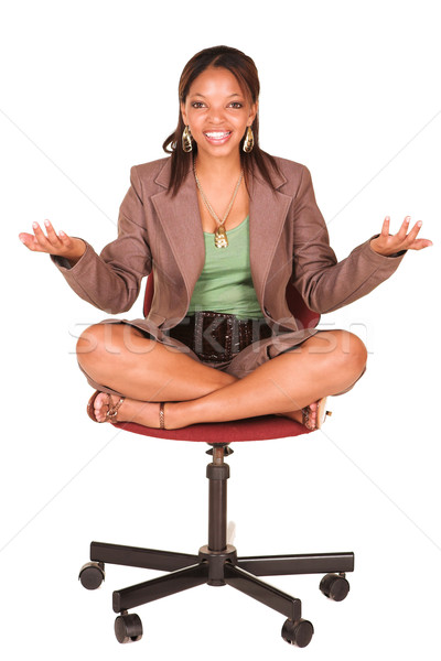 Africaine femme d'affaires chaise de bureau court souriant brun Photo stock © Forgiss