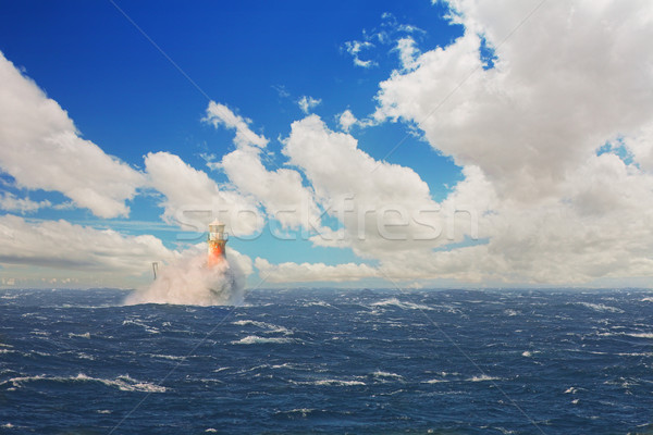 Lighthouse in the stormy sea at Simons Town Stock photo © Forgiss