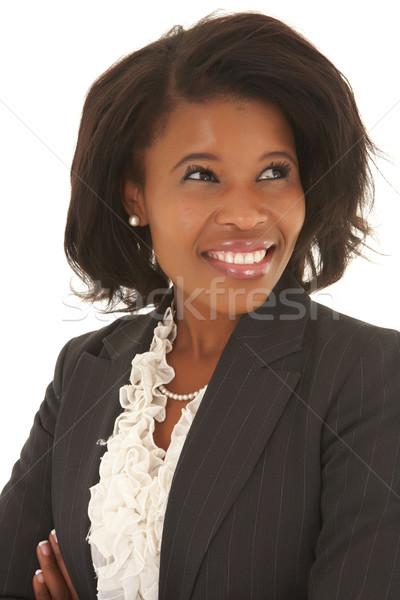 Zwarte zakenvrouw kaukasisch grijs Stockfoto © Forgiss