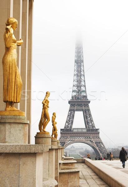 Stock fotó: Párizs · arany · szobor · előtér · Eiffel-torony · Franciaország