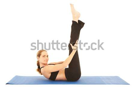 Pilates exercice s'adapter jeunes brunette instructeur Photo stock © Forgiss