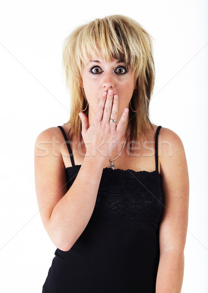 Jonge kaukasisch vrouw mooie blond zwarte Stockfoto © forgiss