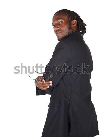 Fekete afrikai üzletember fiatal felnőtt visel sötét Stock fotó © Forgiss