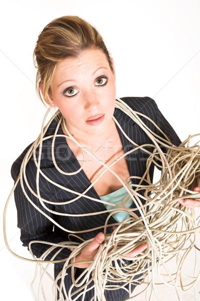 Iş kadını yukarı kablolar güzellik takım elbise Stok fotoğraf © Forgiss