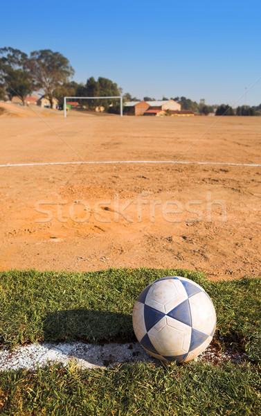 Landelijk voetbalveld vuile voetbal voetbalveld zon Stockfoto © Forgiss