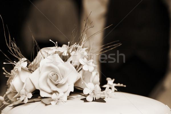 Casamento bolo de noiva raso flor Foto stock © Forgiss