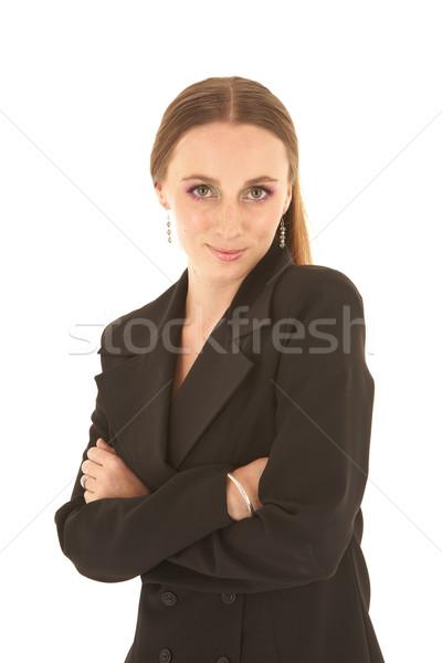 Fiatal kaukázusi üzletasszony fiatal felnőtt sötét öltöny Stock fotó © Forgiss