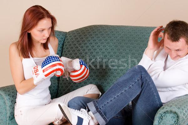 Pareja mujer amigo guantes de boxeo nina manos Foto stock © Forgiss