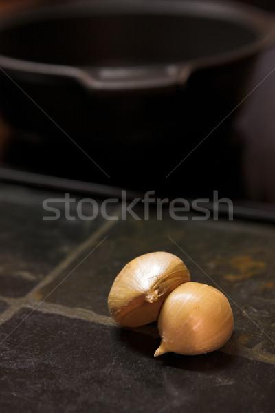 Alho balcão da cozinha dois preto pedra Foto stock © Forgiss
