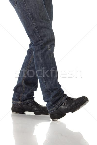 Torneira dançarina sapatos passos branco Foto stock © forgiss
