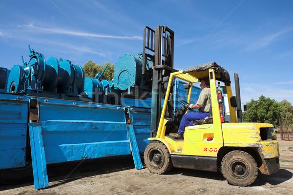 Heftruck Geel vracht vrachtwagen man Blauw Stockfoto © Forgiss