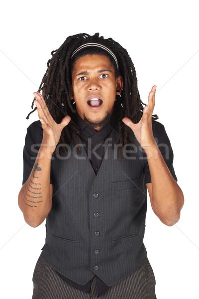 Przystojny Afryki biznesmen długie włosy czarny garnitur biały Zdjęcia stock © Forgiss