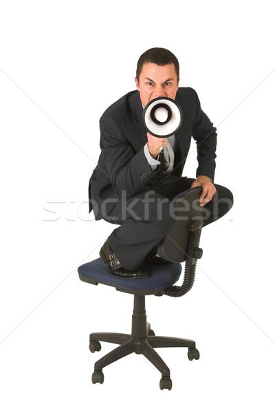 üzletember visel öltöny szürke póló készít Stock fotó © Forgiss