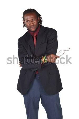 Siyah Afrika işadamı karanlık Stok fotoğraf © Forgiss