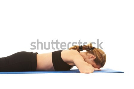 Pilates egzersiz uygun genç esmer eğitmen Stok fotoğraf © Forgiss