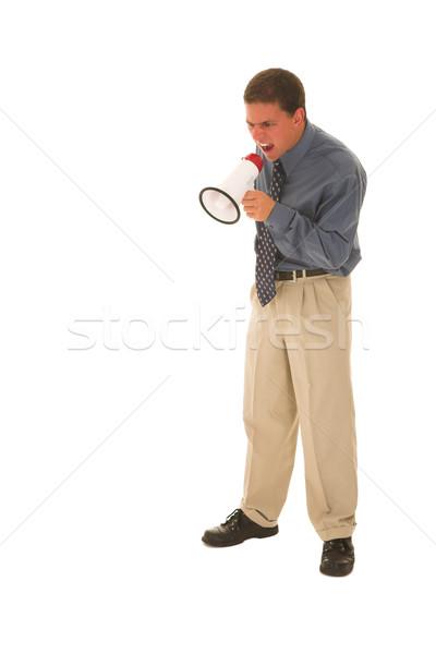 бизнесмен человека микрофона служба лице Сток-фото © Forgiss