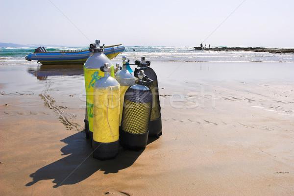 25 praia mergulho equipamento primeiro plano lancha Foto stock © Forgiss