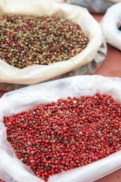 Drogen produceren markt zakken noten zaden Stockfoto © Forgiss
