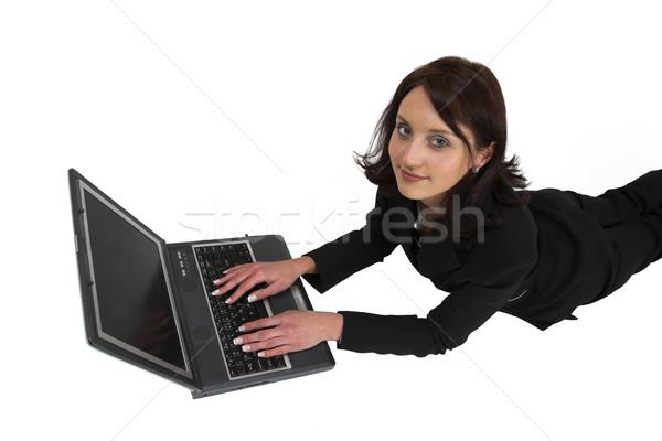 Business woman formalny czarny garnitur pracy laptop Zdjęcia stock © Forgiss