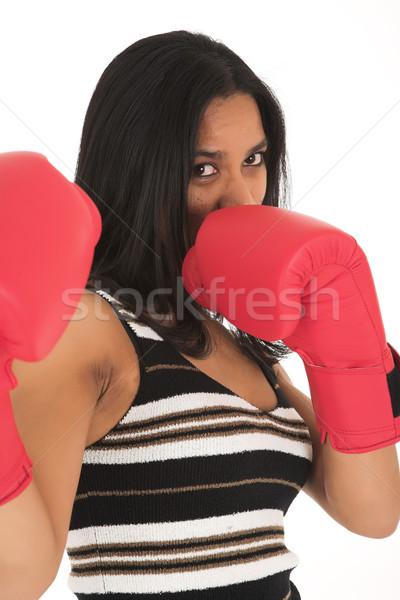 Afrikaanse zakenvrouw Rood bokshandschoenen metafoor Stockfoto © Forgiss