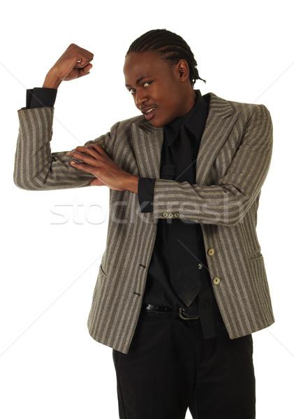 Zwarte zakenman afrikaanse witte posities Stockfoto © Forgiss