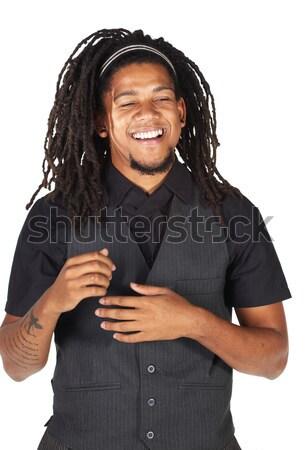 Przystojny Afryki biznesmen długie włosy czarny nieformalny Zdjęcia stock © Forgiss