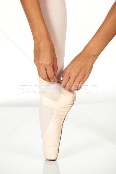 Stockfoto: Jonge · vrouwelijke · balletdanser · tonen · stropdas