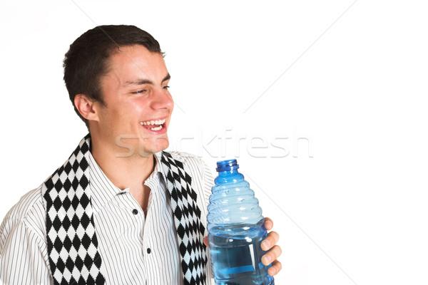 Homem branco camisas cachecol água engarrafada mão Foto stock © Forgiss